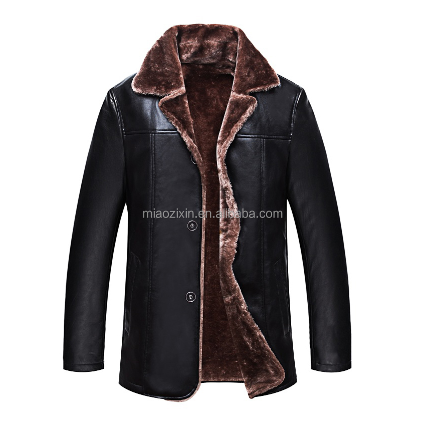 OEM manufacture price leather men fur jacket for winter