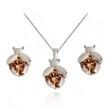 Korean Style Silver Plated Bee Shape Round Cut Cubic Zirconia CZ Necklace Earring Wedding Bridal Jewelry Set