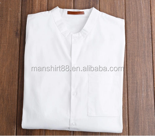 2016 Pure white simple style collarless men useful casual shirt