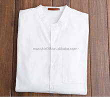 Pure white simple style collarless men useful casual shirt