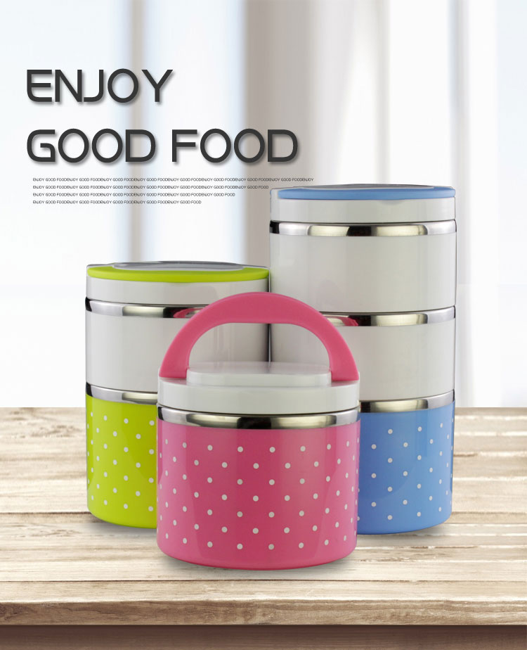 Food grade 3 Layers stackable stainless steel food warmer container/ large capacity lunch box