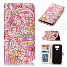 Mobile accessories guangzhou supplier 3D printed picture stand wallet flip phone cover leather case for lg g6