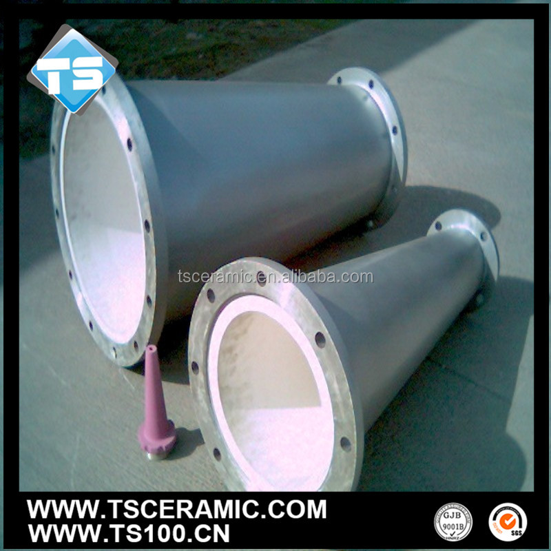 tapered ceramic tube with steel pipe ,large size,abrasion-proof