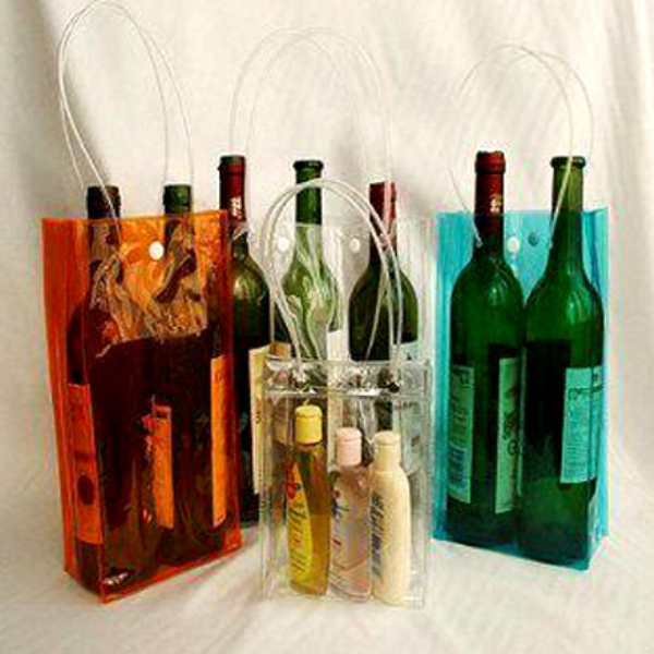 portable clear pvc bag for wine beer drinks