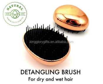 Hot Sale economical Gold Electroplate egg Detangling Hair Brush with chrome finish