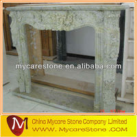 Grey artificial stone fireplace mantel