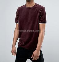 Wholesale Customized Crew Neck Plain Mens Velour Short Sleeve Longline T shirt