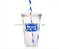 Double wall clear plastic beverage to go tumbler with straw