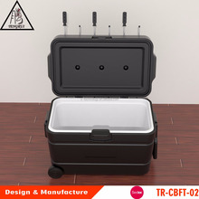 100% Eco-friendly Wheeled cooler box with football table game ideal for camping trips, tailgating parties, and picnics
