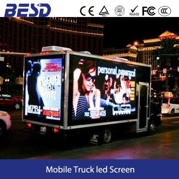 Shenzhen factory outdoor advertising led display mobile truck / trailer / vehicle three sides led screens