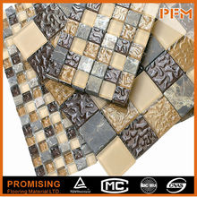 2015 Hot Selling Top Class With Custom Sizes Hand Cutting Mosaic Stainless Steel Mix Glass Mosaic Tile
