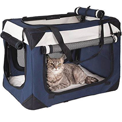 cheap Folds Flat Lightweight Washable fabric cat travel bag pet carrier house dog crate