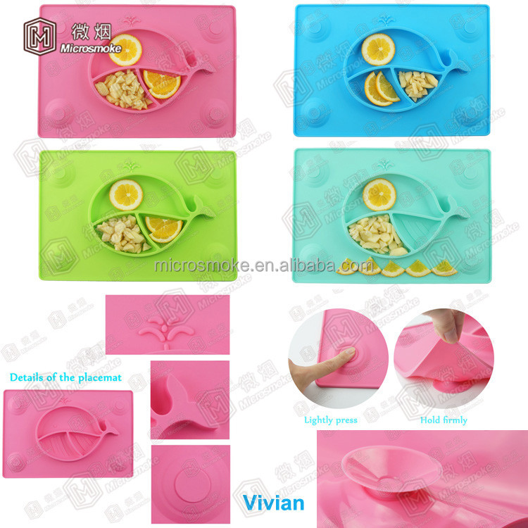 2017 Newest Silicone Tableware FDA/LFGB Approved Silicone Placemat/Plate/Dish for Toddlers & Babies