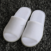 High Quality 100% Cotton Terry Fabric Open Toe Hotel Slippers