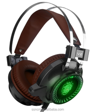 High-end performance super bass LED gaming headset USB computer headphones