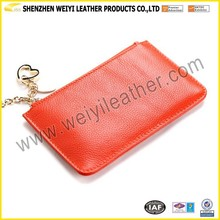 Refined Metal Buckle Chain Lady Purse Litchi Grain Leather Hand Type Purse