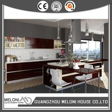 New design white quartz popular wood veneer kitchen cabinet units