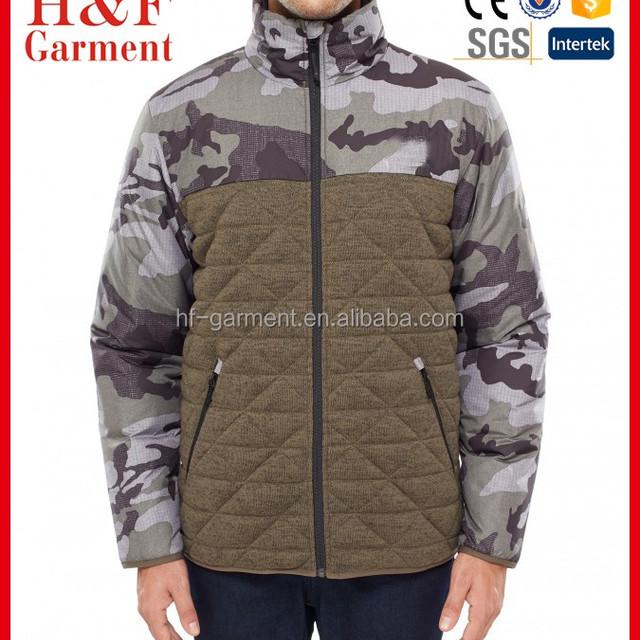 Woodland camouflage design men's winter jacket