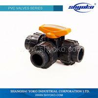2016 made in china hydraulic 6 inch pvc 3 way union ball valve