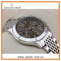 Assisi brand fashionable simple Roman hands black silver dial japan movt geneva watch stainless steel back