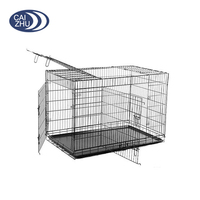 "New Black 30"" 3 Doors Folding Dog Crate Cage Kennel Plastic Pan with divider"