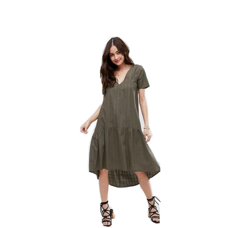 51b0702f263a47 Woman T Shirt Smock High Low Hem V-neck Drop Waist Midi Casual Dress ...