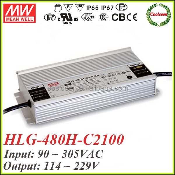 Meanwell HLG-480H-C2100 480w constant current led mining lighting driver