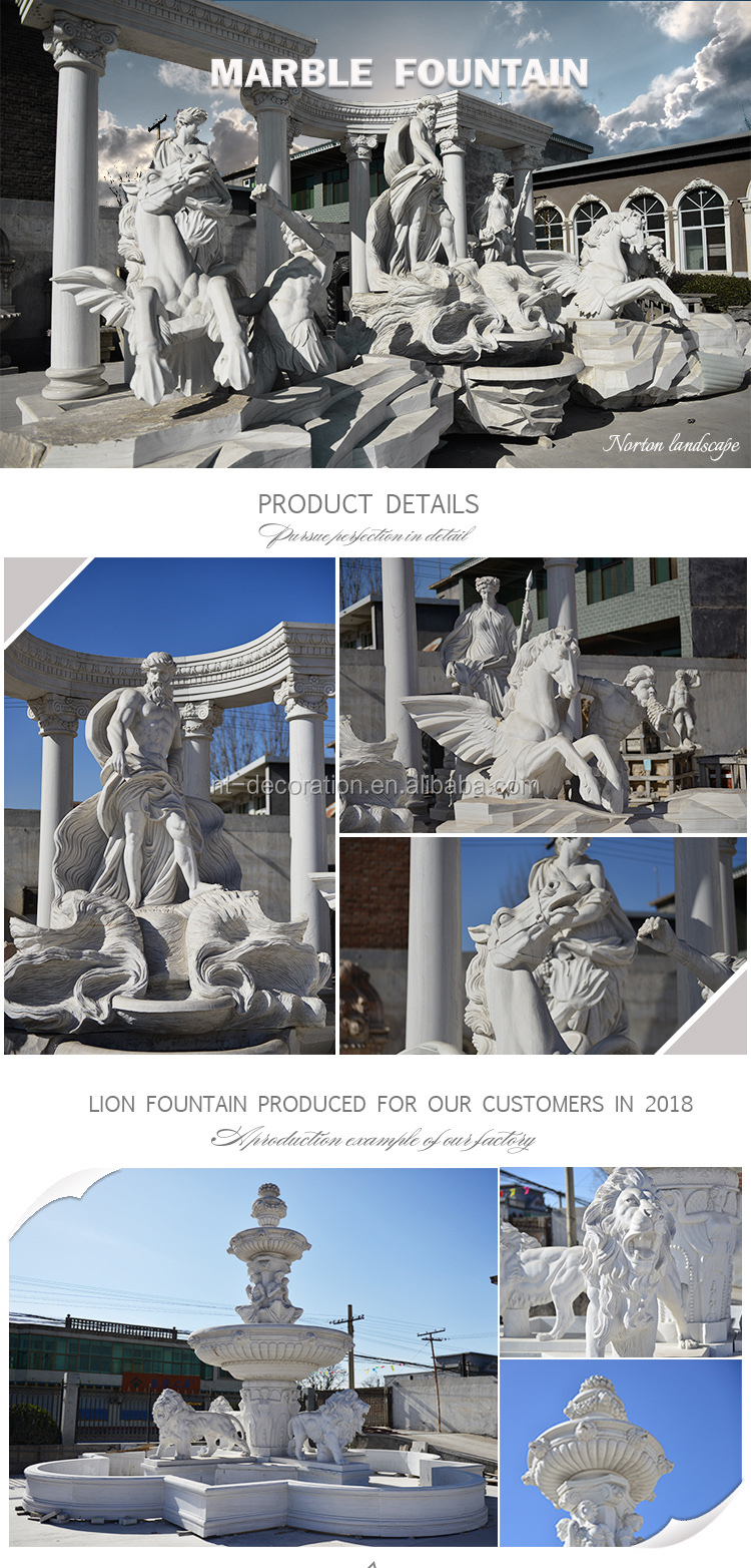 Modern outdoor decor use garden stone water wall fountain hand-carved horse head marble wall fountain