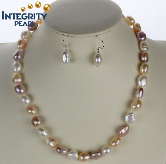 10mm AAA latest design freshwater baroque pearl set