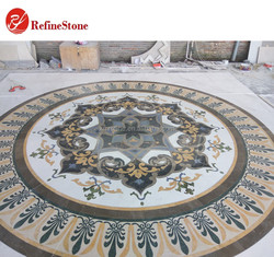Polished round marble mosaic waterjet,Premium exquisite flooring paving carpets tiles flower pattern