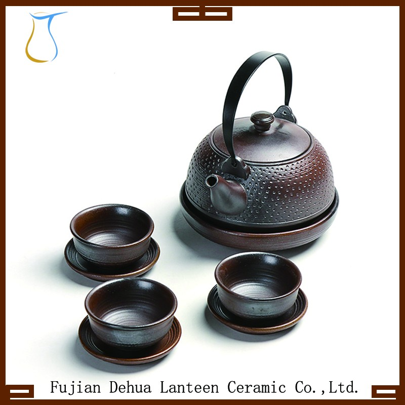 600ML japanese cast iron glazed ceramic tea pot set with tea cups and saucers