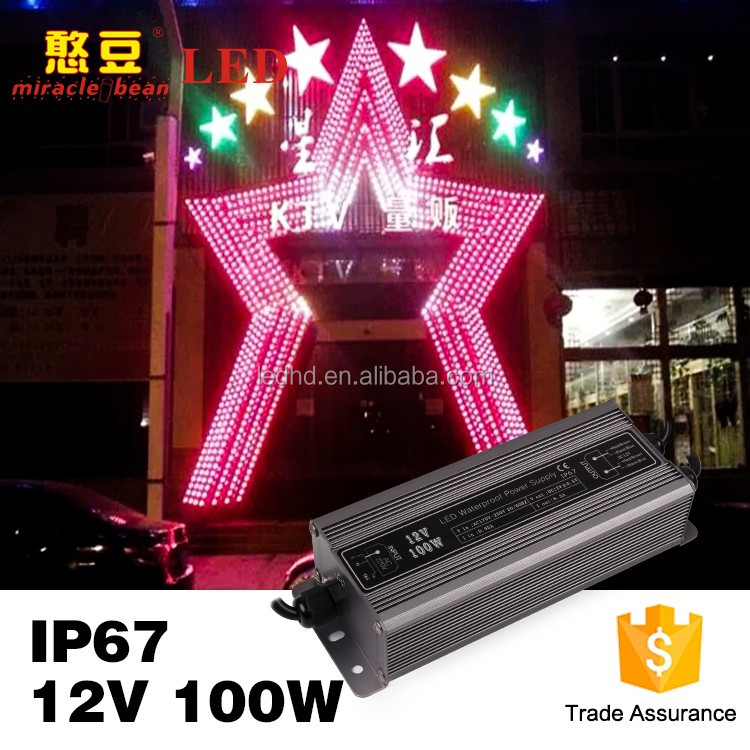 Waterproof IP67 Miracle bean 12V 24V 100w switching mode power supply for Park decoration