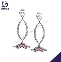 Colorful cz set silver hollow stylish earrings young leafs girls