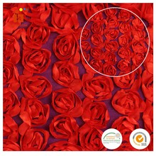 Huilun textile 100% polyester lace red rose coiling satin ribbon embroidery fabric for fashion dress