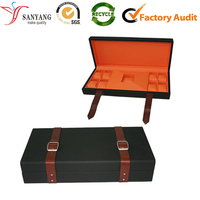 Leather watch box with strip for multiple single watch packing box