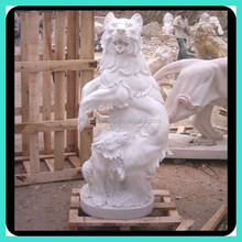 white marble stone bear sculpture