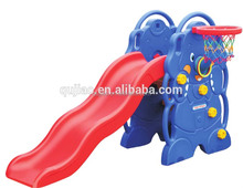 Kids Plastic Slide with Basketball Play Frame Cute Elephant Slide