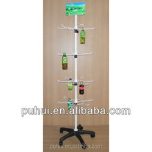 floor standing spinning metal drink bottles display rack for hanging