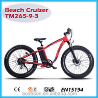 new style fat tire electric bike/bicycle, beach sport ebike TM265-9-3 with lithium battery and bafang motor