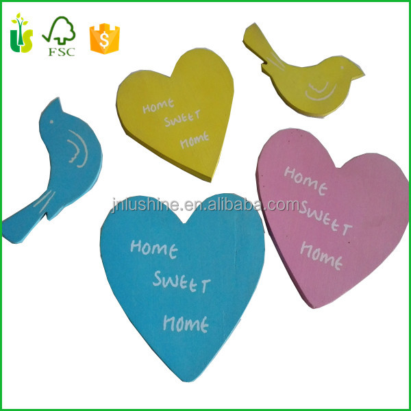 Wholesale Decorative Laser Cut Wooden Crafts Heart Bird Cutout Shapes