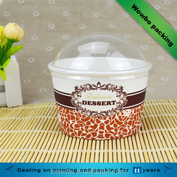 Ice cream/yoghourt paper cups/bowls with transparent plastic lid