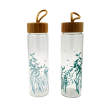 BPA-Free Glass Water Bottle with Bamboo Lid 650ml