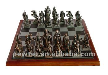 2014 The Lord of the Rings chess wooden board metal chessman