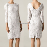 Guangdong clothing bodycon white lace models dresses knee length