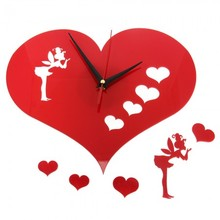 DIY Pretty Girl Angel Fairy Red Heart Wall Sticker Clock Creative Home Decor