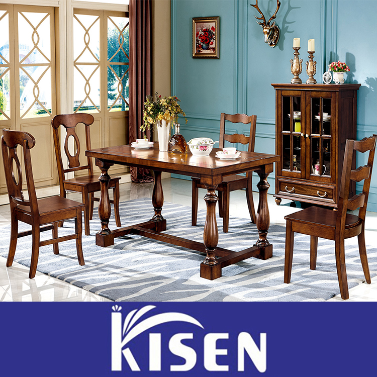 Solid wood dining room furniture antique table and chair set L006
