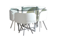 White color dining room furniture tempered glass