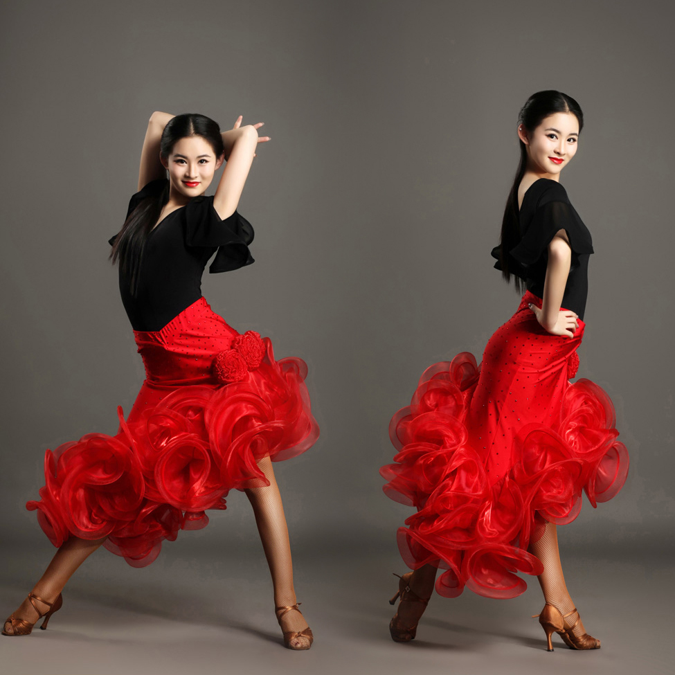 Top and skirt set women elegant latin dance dress for competition