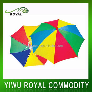 Promotion Adult Rainbow Head Hat Umbrella