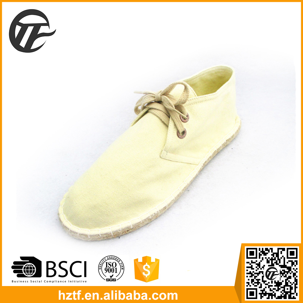 cream-coloured thick sole canvas shoes for men